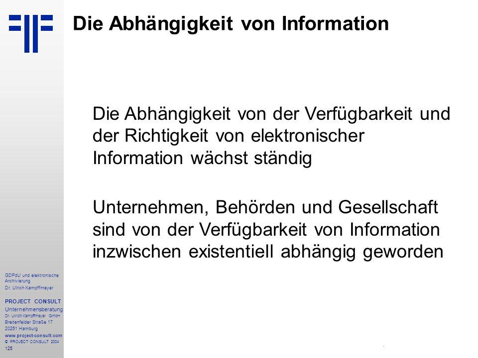 Die Abhängigkeit von Information