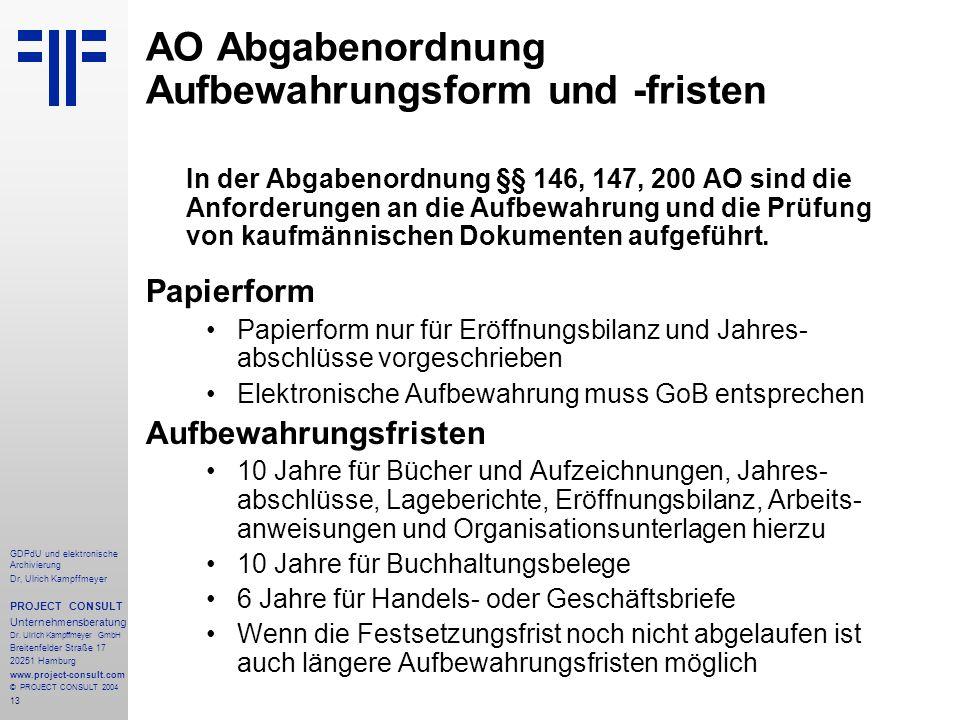 AO Abgabenordnung Aufbewahrungsform und -fristen