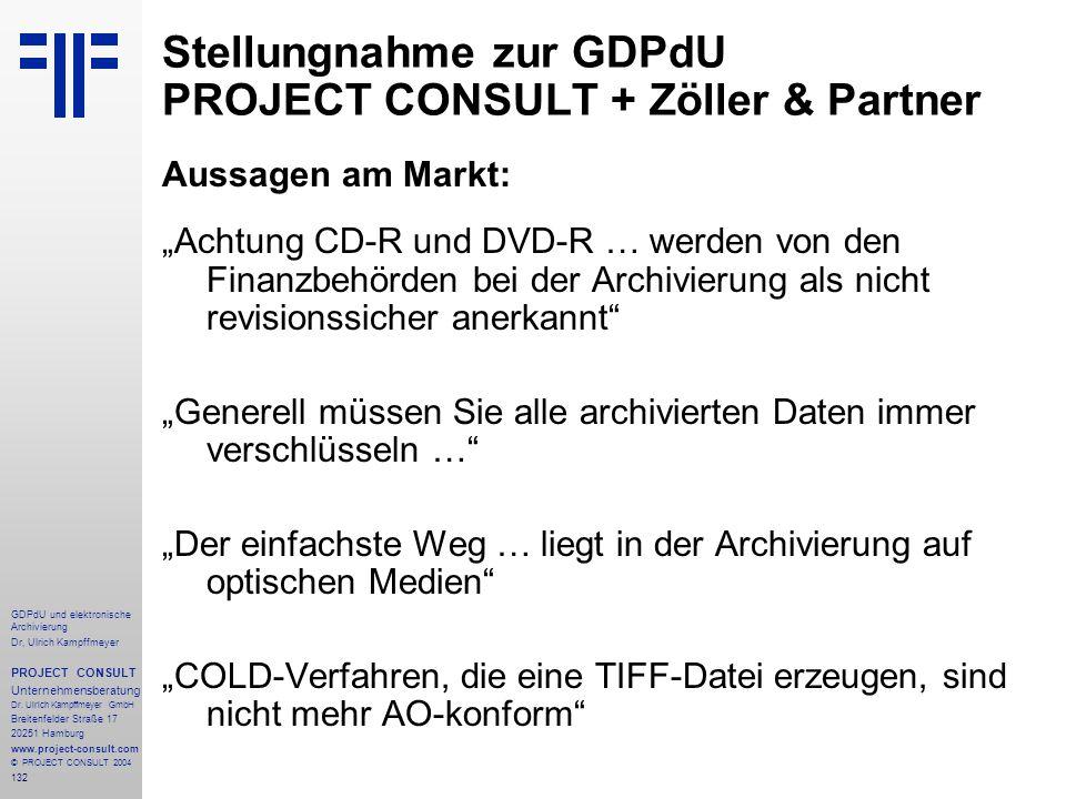 Stellungnahme zur GDPdU PROJECT CONSULT + Zöller & Partner