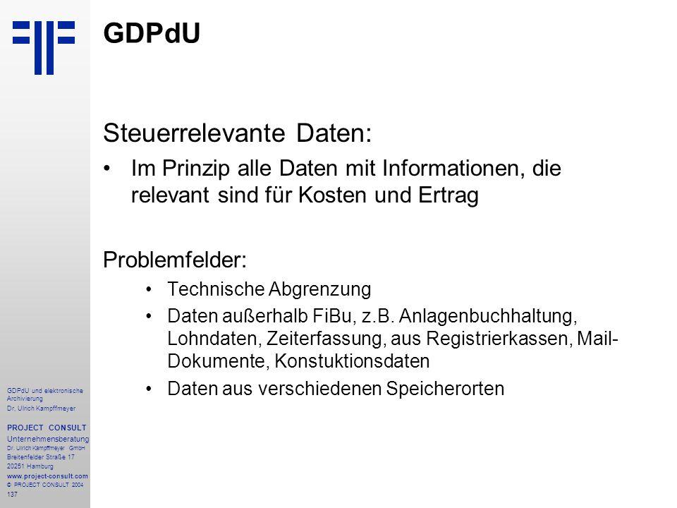GDPdU Steuerrelevante Daten: