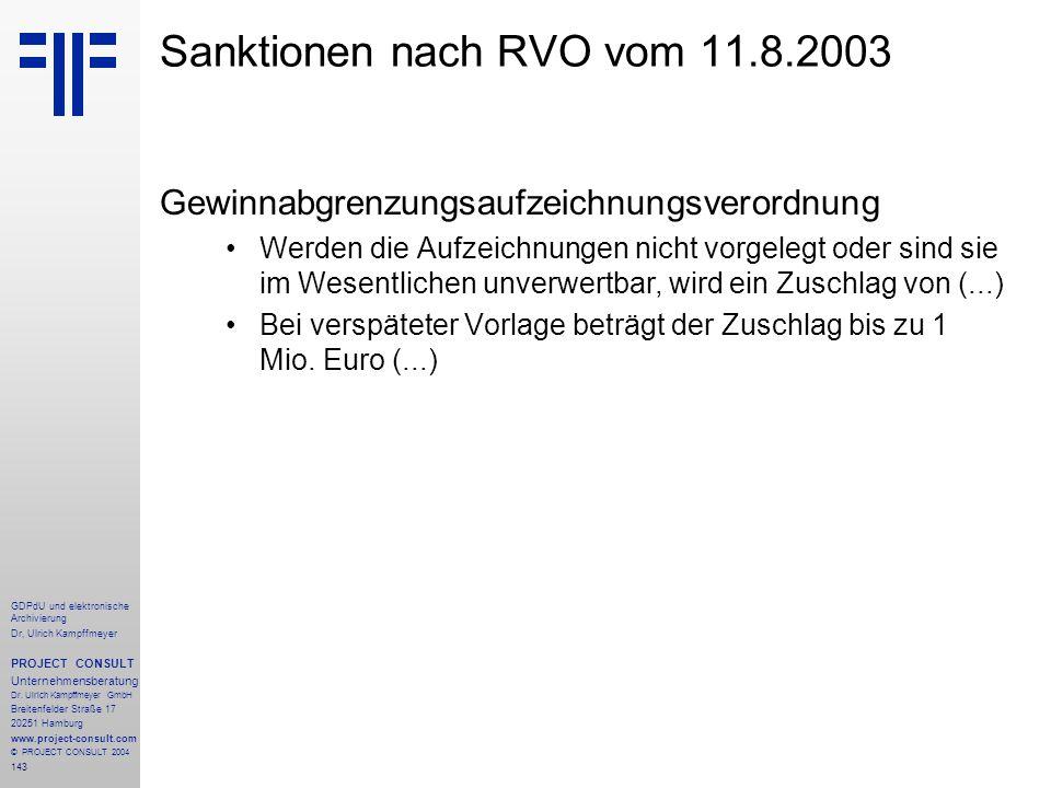 Sanktionen nach RVO vom 11.8.2003
