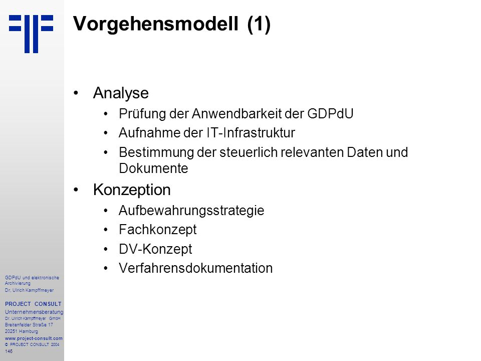 Vorgehensmodell (1) Analyse Konzeption