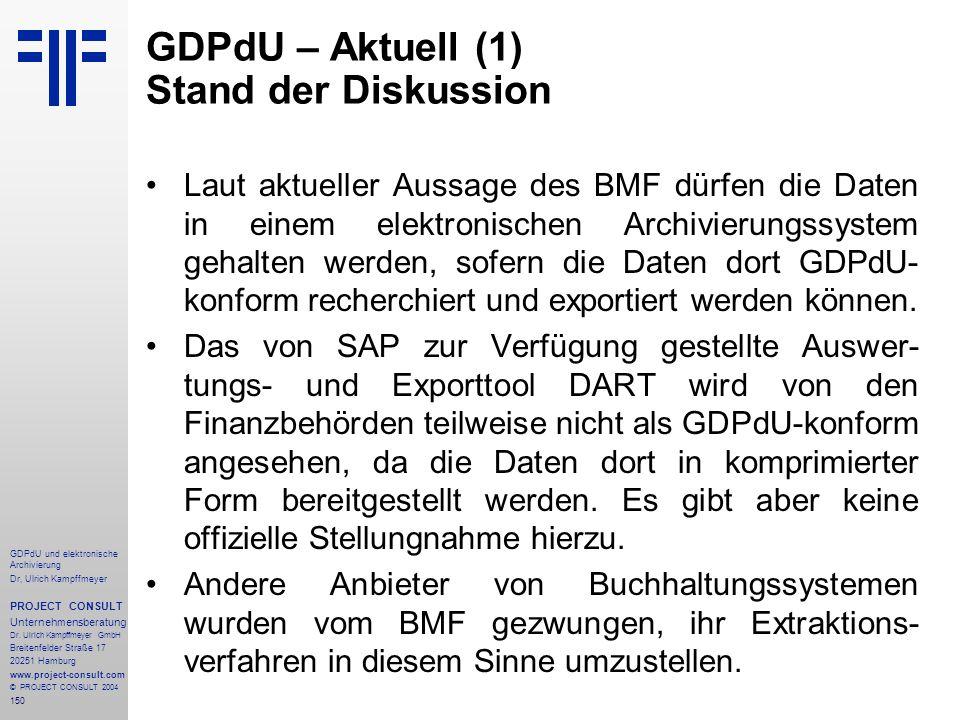 GDPdU – Aktuell (1) Stand der Diskussion