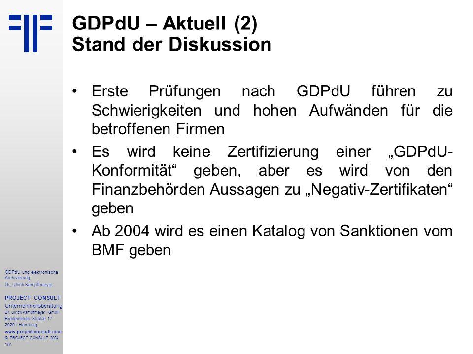 GDPdU – Aktuell (2) Stand der Diskussion