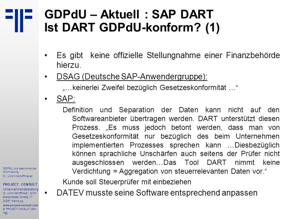 GDPdU – Aktuell : SAP DART Ist DART GDPdU-konform (1)