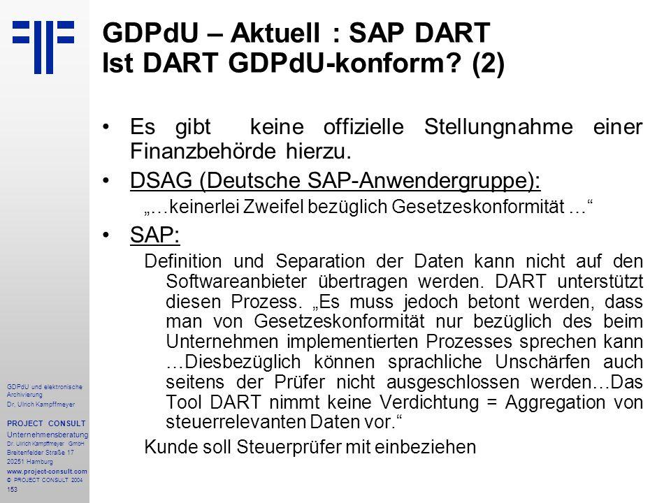 GDPdU – Aktuell : SAP DART Ist DART GDPdU-konform (2)