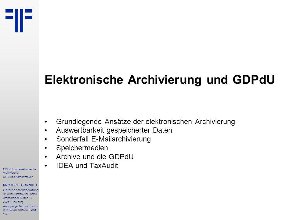 Elektronische Archivierung und GDPdU