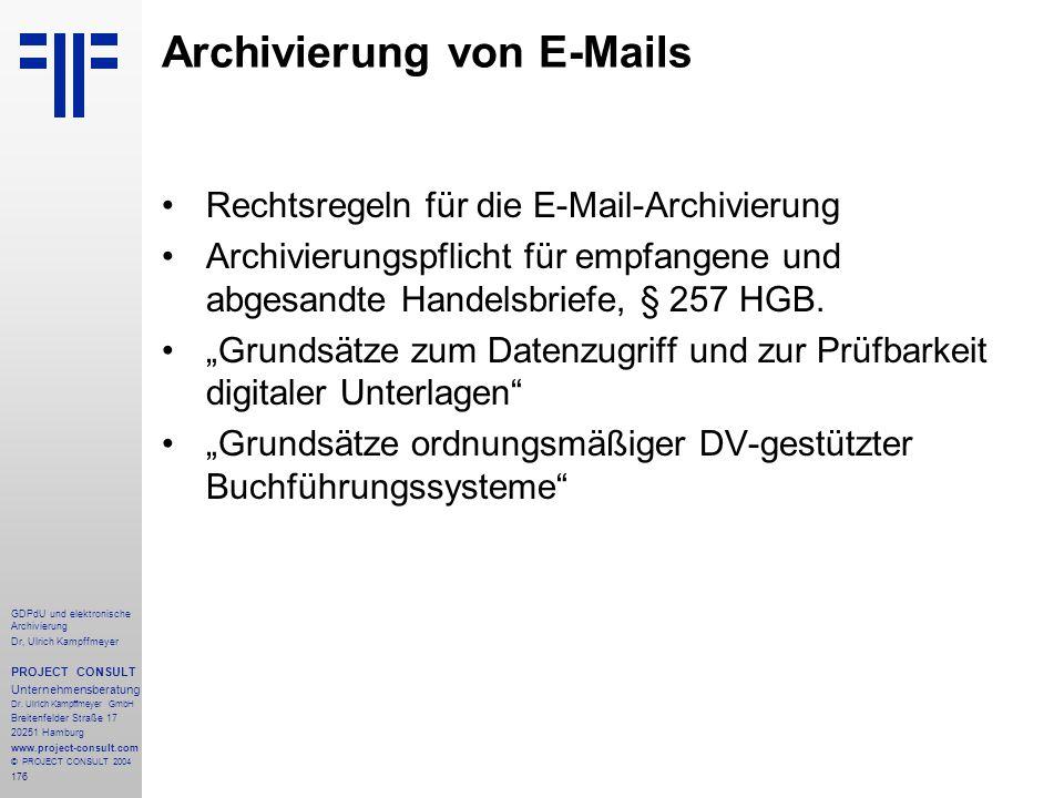 Archivierung von E-Mails