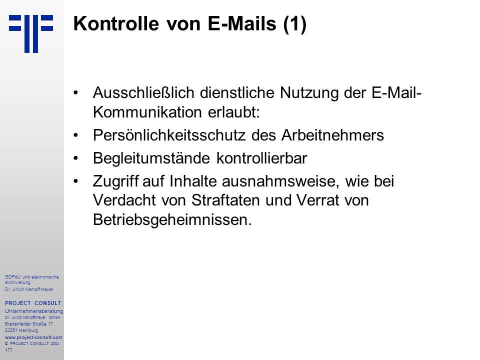 Kontrolle von E-Mails (1)