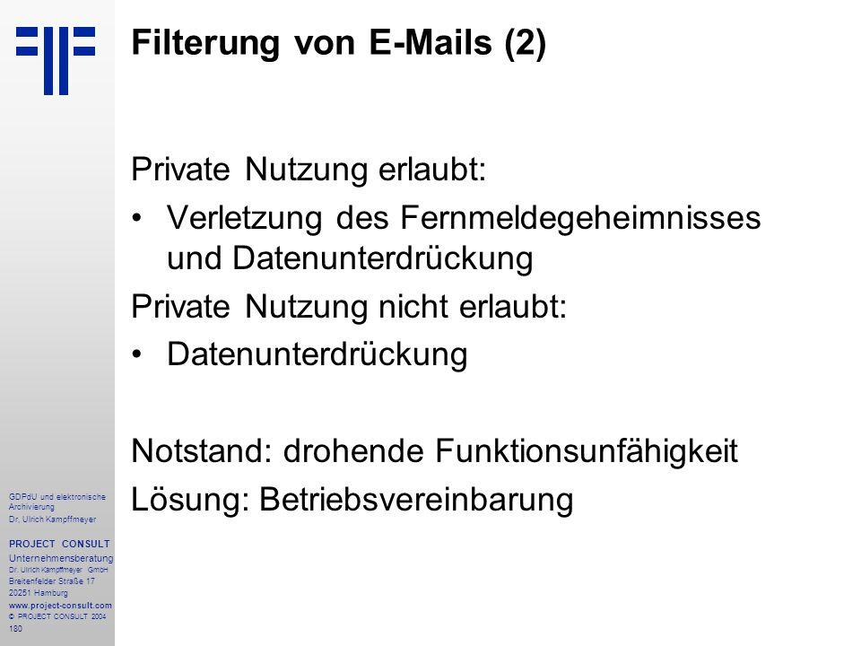 Filterung von E-Mails (2)