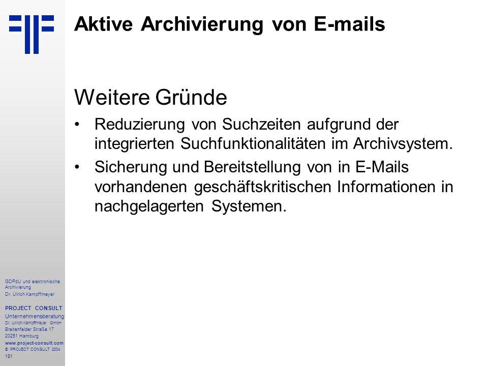 Aktive Archivierung von E-mails