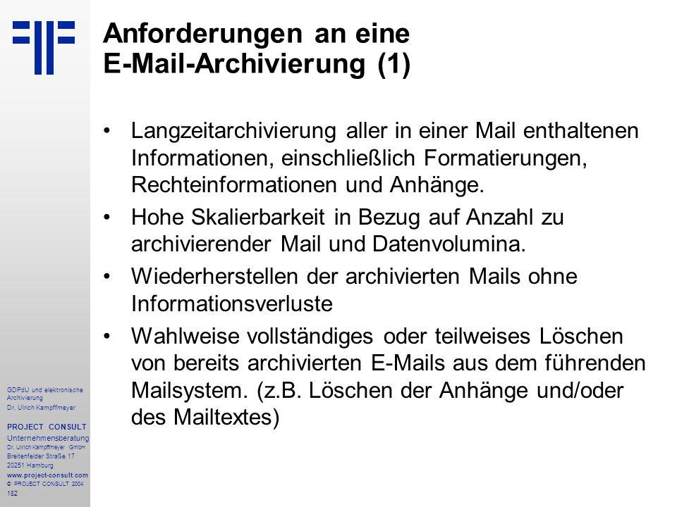 Anforderungen an eine E-Mail-Archivierung (1)