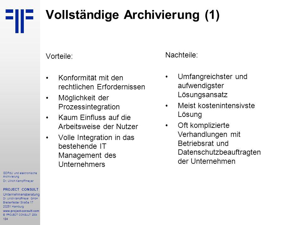 Vollständige Archivierung (1)