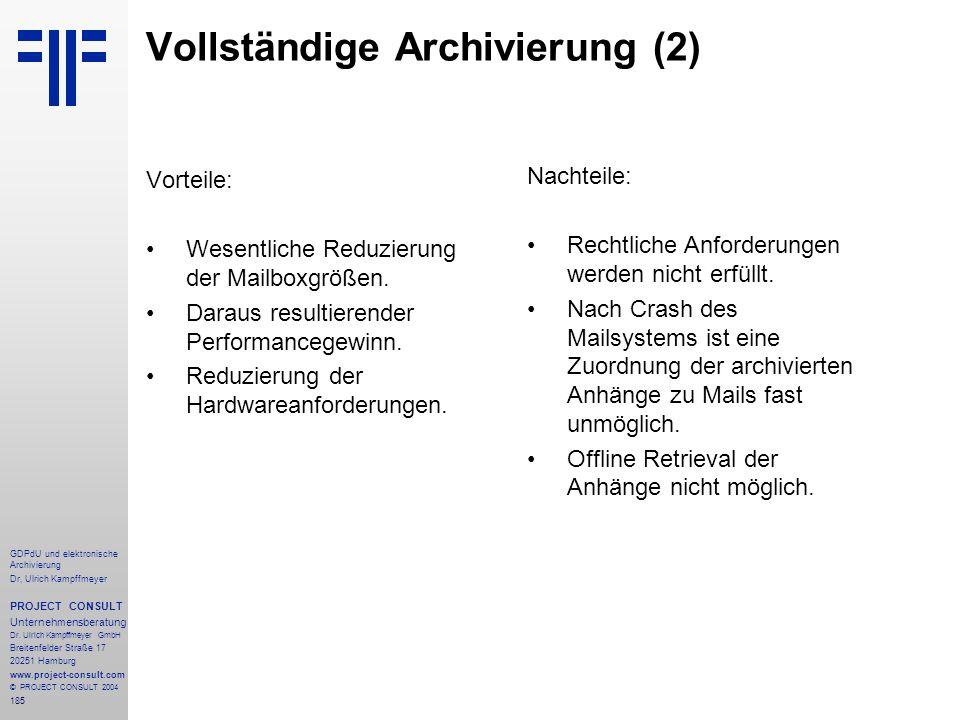 Vollständige Archivierung (2)
