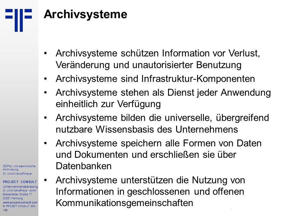 Archivsysteme Archivsysteme schützen Information vor Verlust, Veränderung und unautorisierter Benutzung.