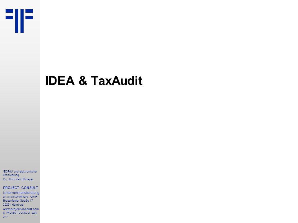 IDEA & TaxAudit PROJECT CONSULT Unternehmensberatung