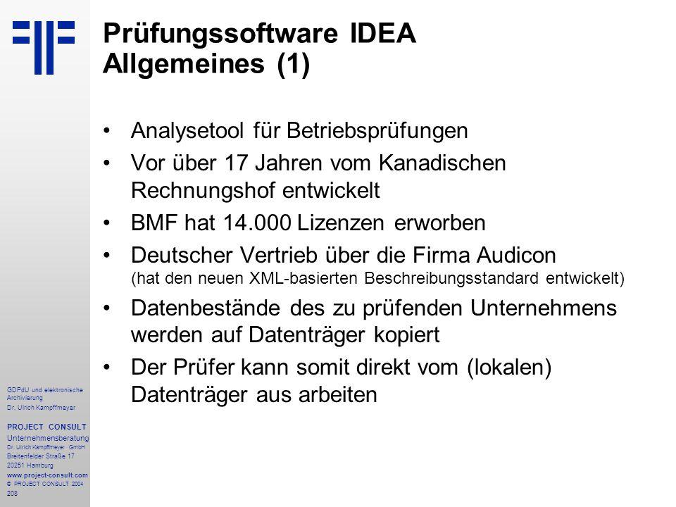 Prüfungssoftware IDEA Allgemeines (1)
