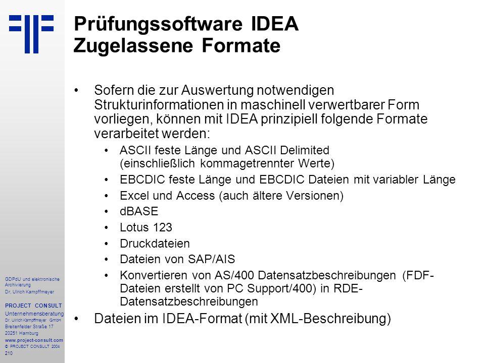 Prüfungssoftware IDEA Zugelassene Formate