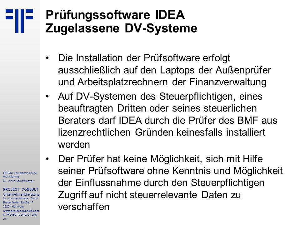 Prüfungssoftware IDEA Zugelassene DV-Systeme