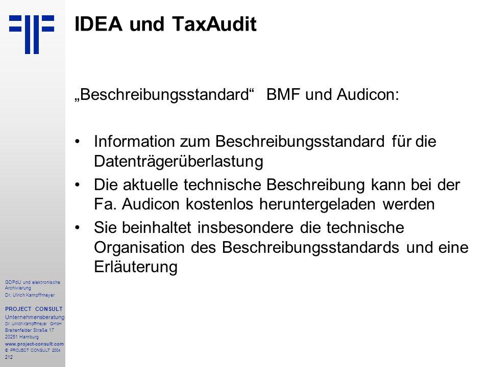 """IDEA und TaxAudit """"Beschreibungsstandard BMF und Audicon:"""