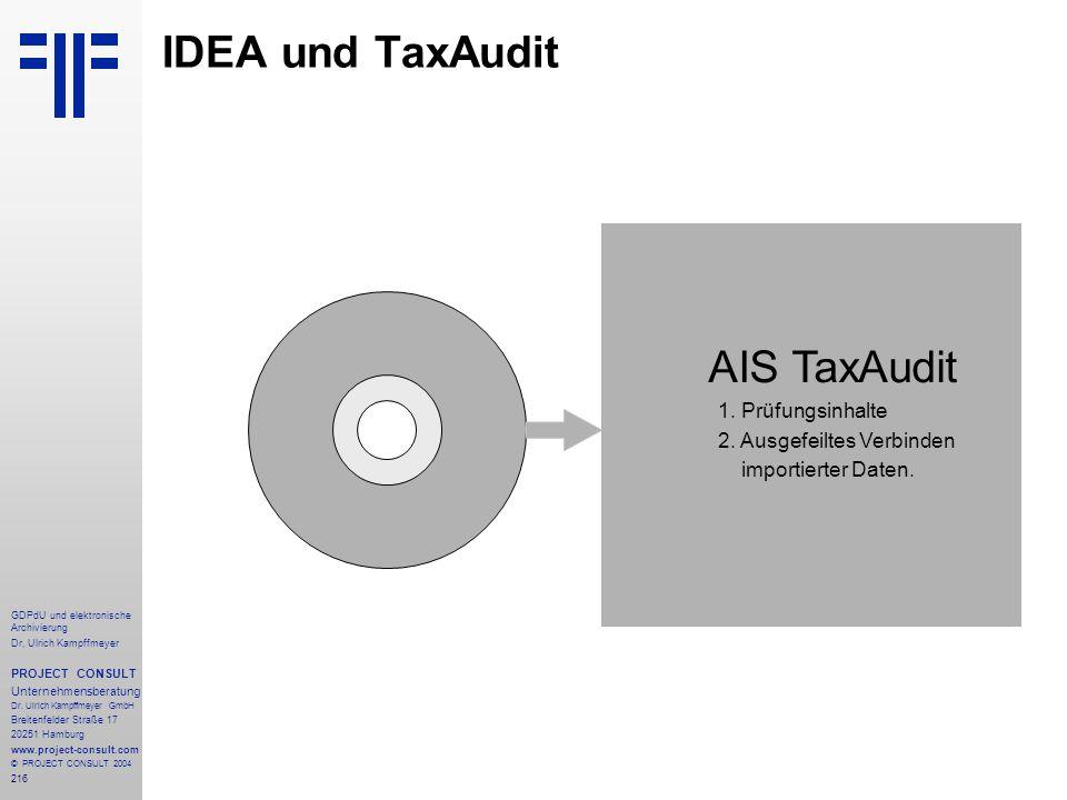 IDEA und TaxAudit AIS TaxAudit 1. Prüfungsinhalte