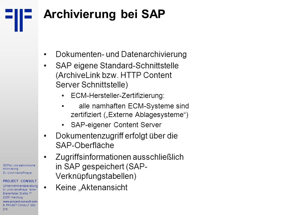Archivierung bei SAP Dokumenten- und Datenarchivierung