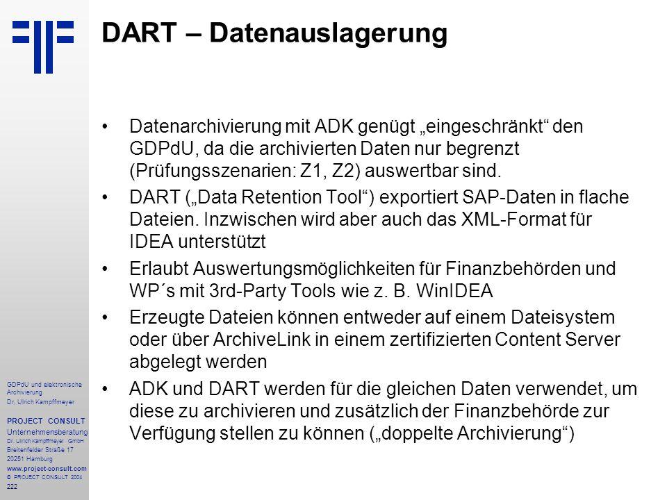 DART – Datenauslagerung