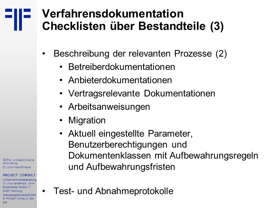 Verfahrensdokumentation Checklisten über Bestandteile (3)