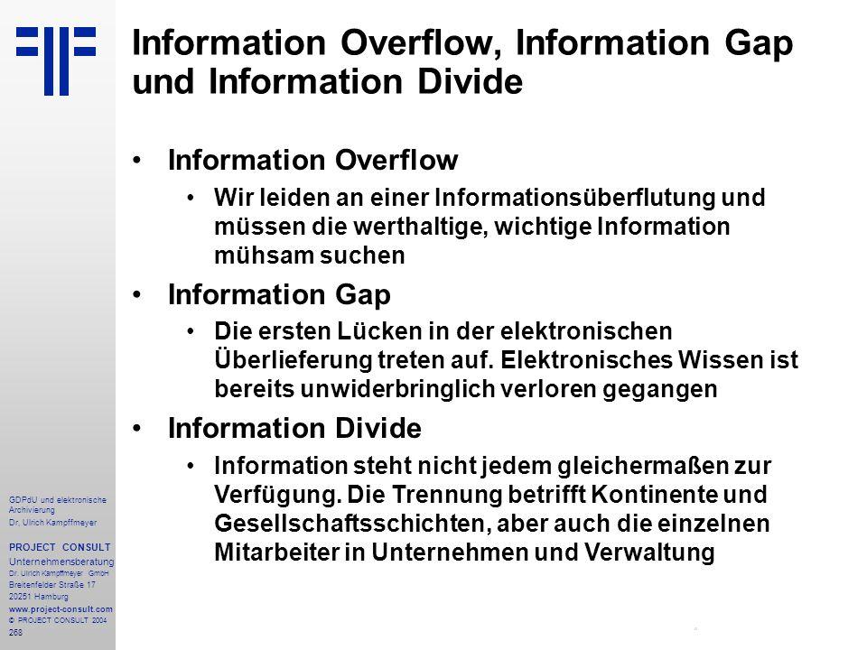 Information Overflow, Information Gap und Information Divide