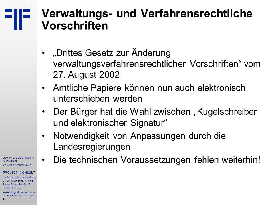 Verwaltungs- und Verfahrensrechtliche Vorschriften