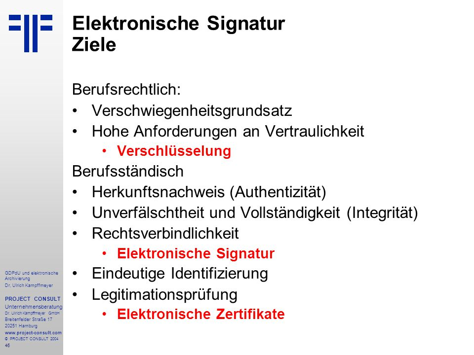 Elektronische Signatur Ziele