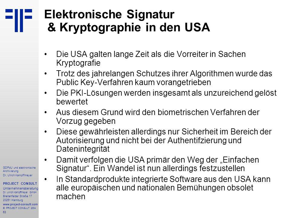 Elektronische Signatur & Kryptographie in den USA