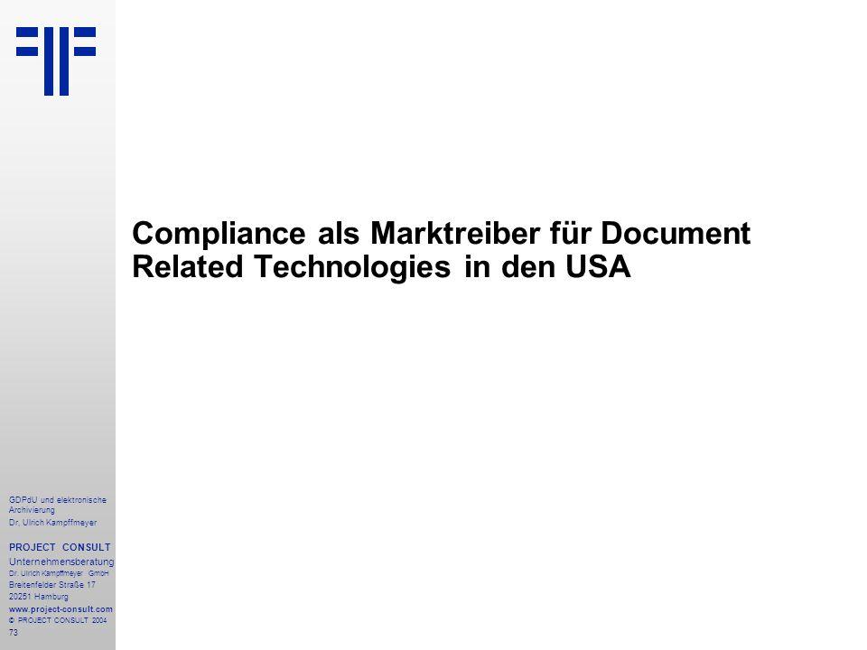 Compliance als Marktreiber für Document Related Technologies in den USA