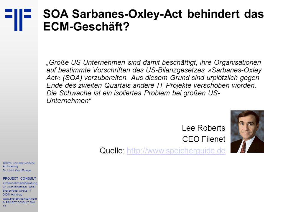 SOA Sarbanes-Oxley-Act behindert das ECM-Geschäft