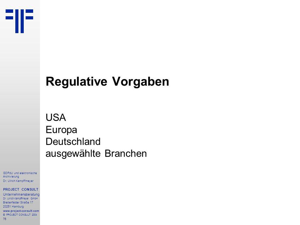 USA Europa Deutschland ausgewählte Branchen