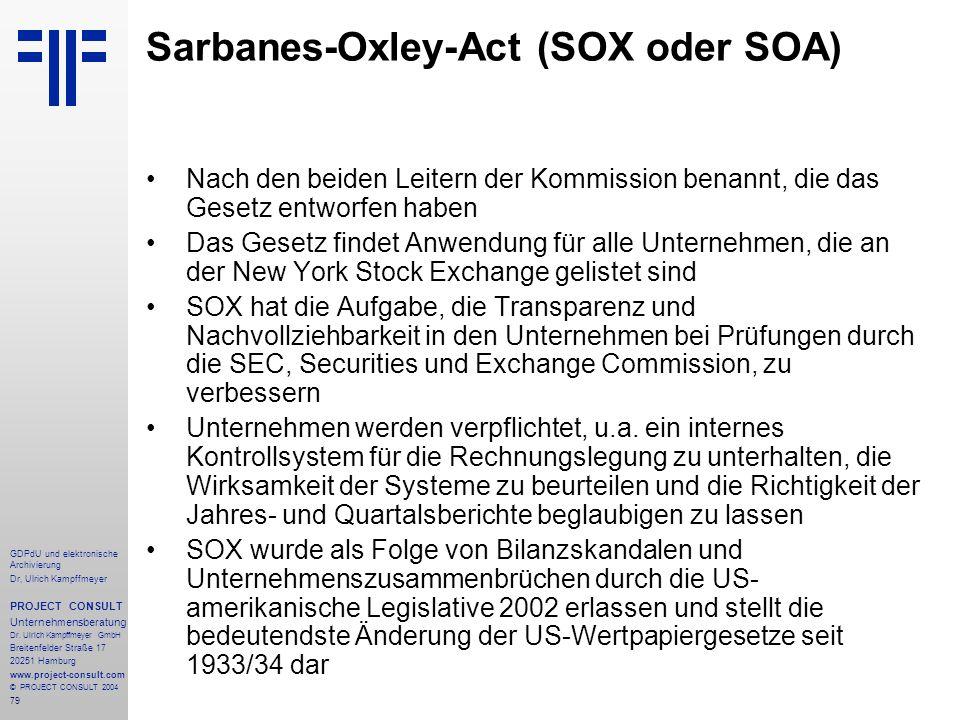 Sarbanes-Oxley-Act (SOX oder SOA)