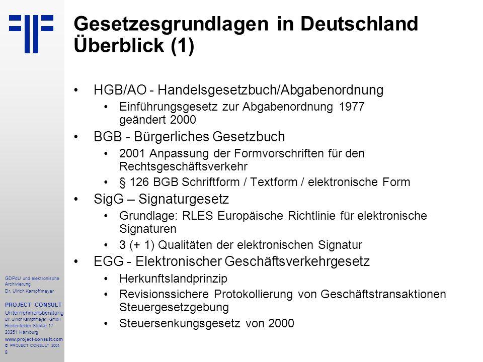 Gesetzesgrundlagen in Deutschland Überblick (1)