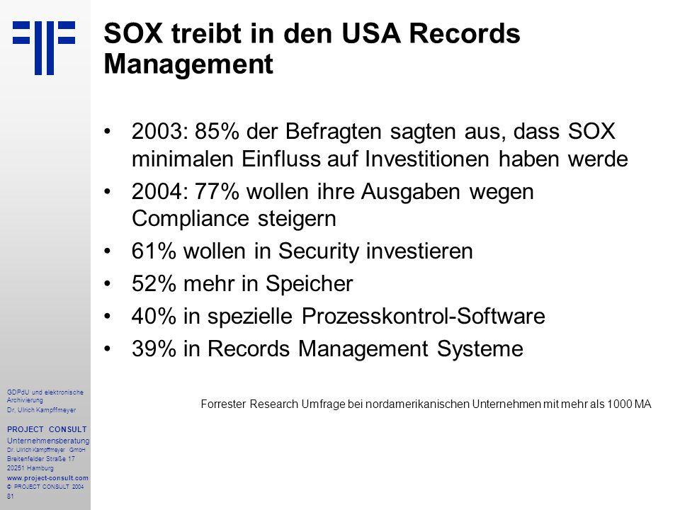 SOX treibt in den USA Records Management