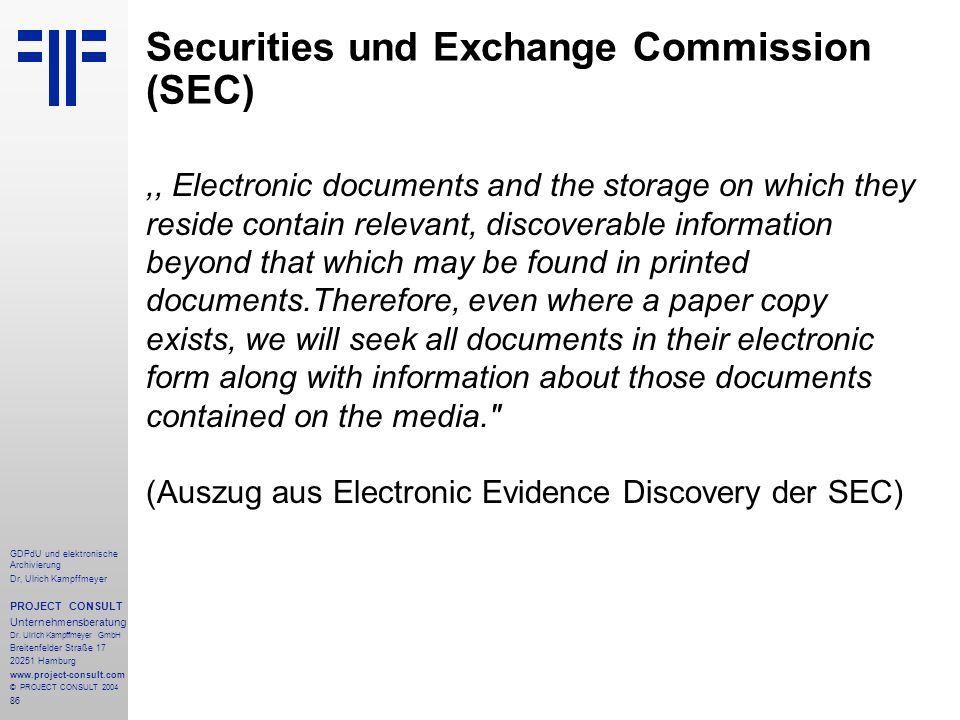 Securities und Exchange Commission (SEC)