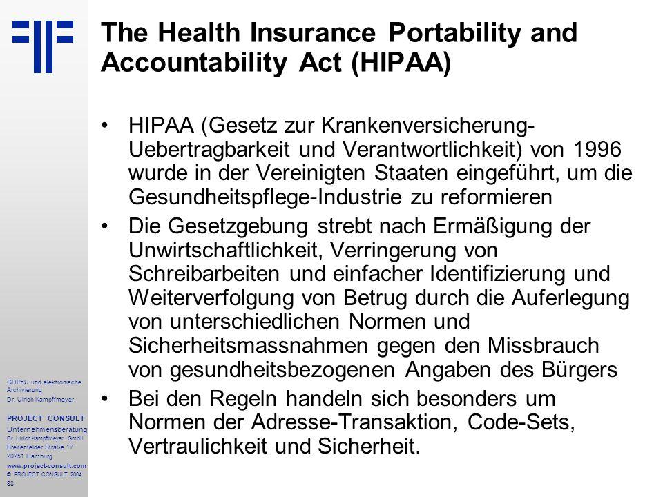 The Health Insurance Portability and Accountability Act (HIPAA)