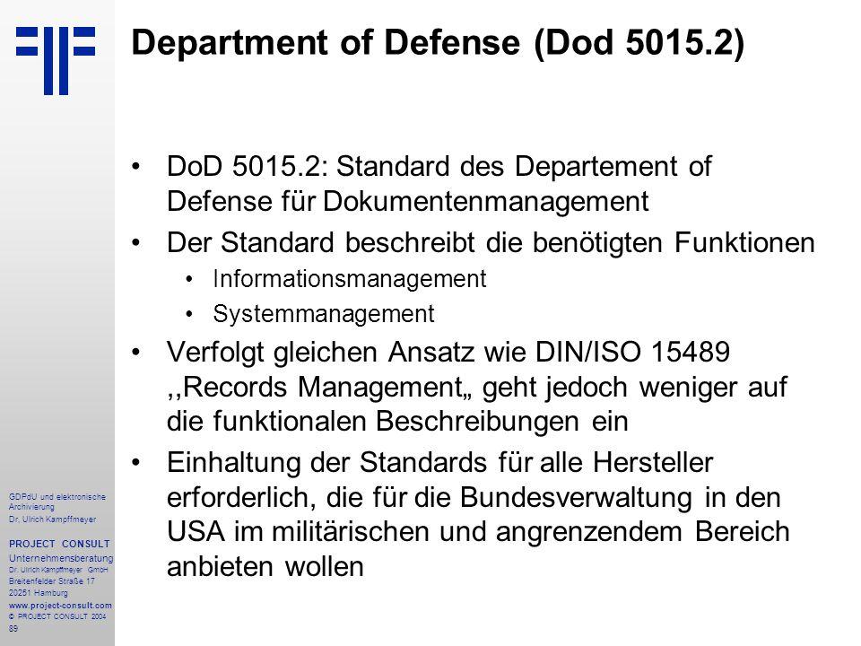 Department of Defense (Dod 5015.2)