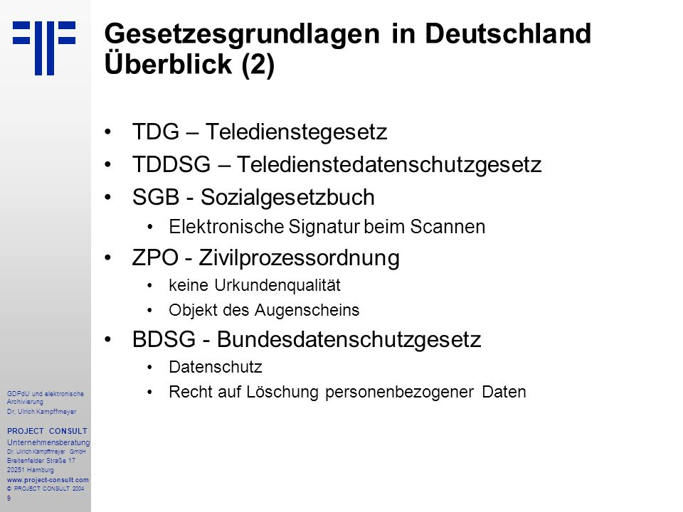 Gesetzesgrundlagen in Deutschland Überblick (2)
