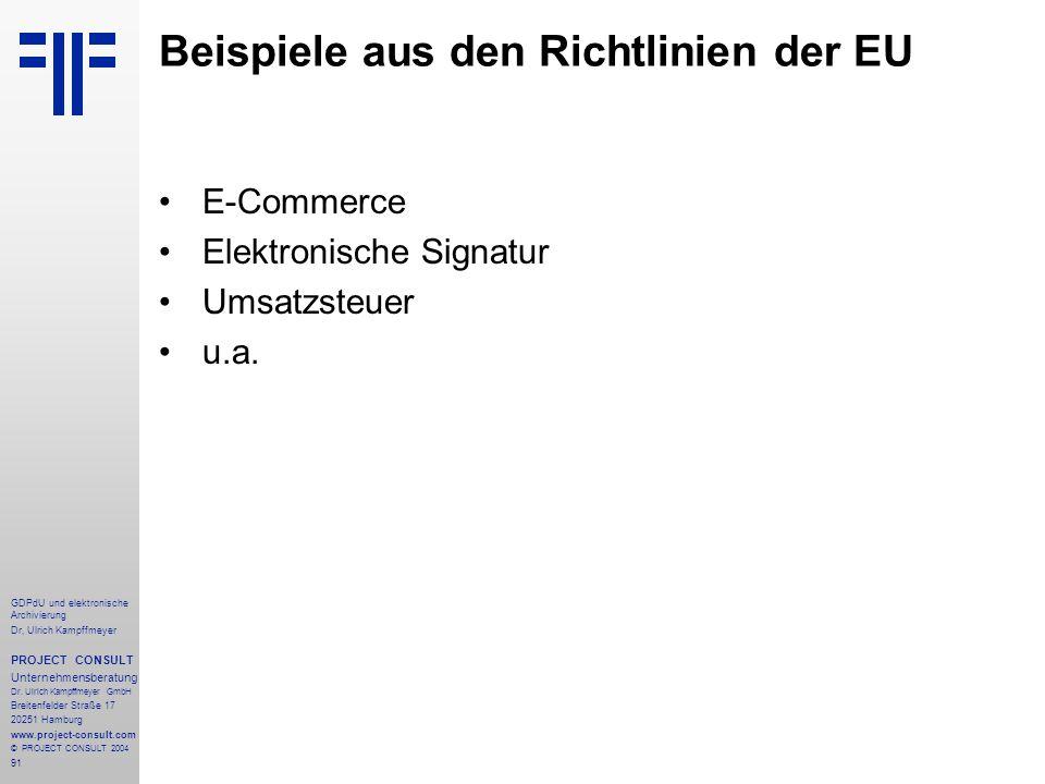 Beispiele aus den Richtlinien der EU