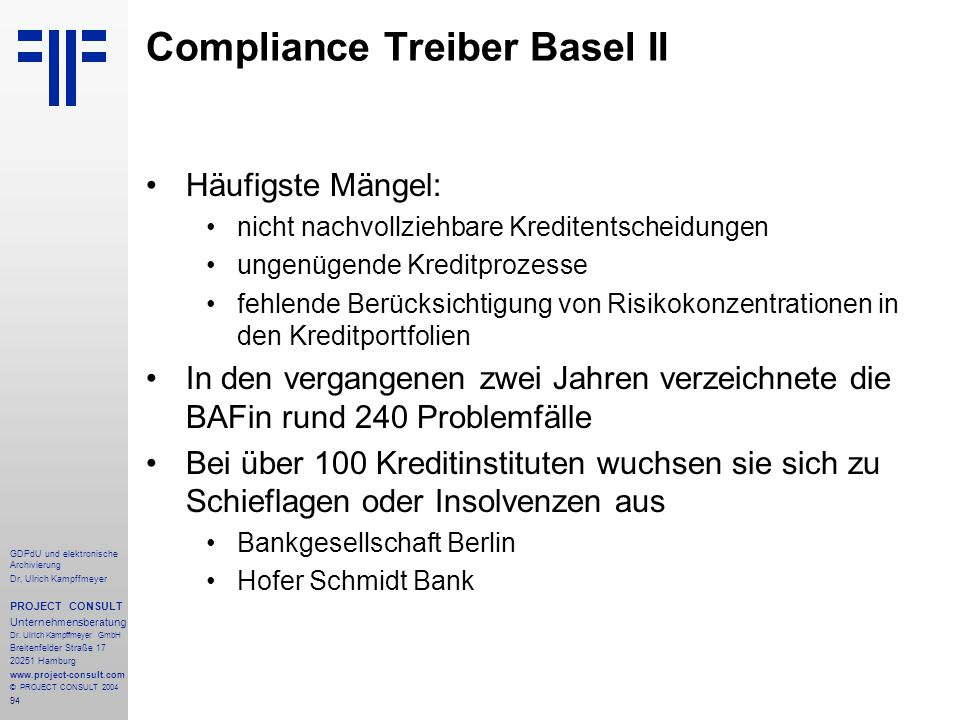 Compliance Treiber Basel II