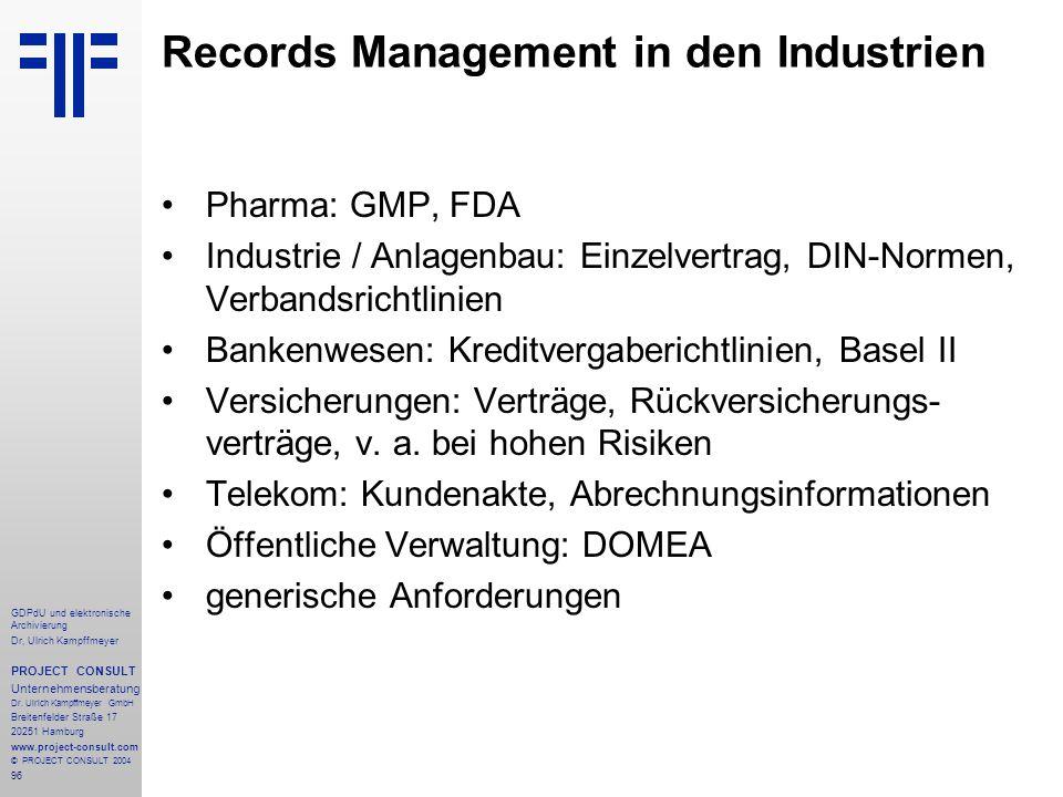 Records Management in den Industrien
