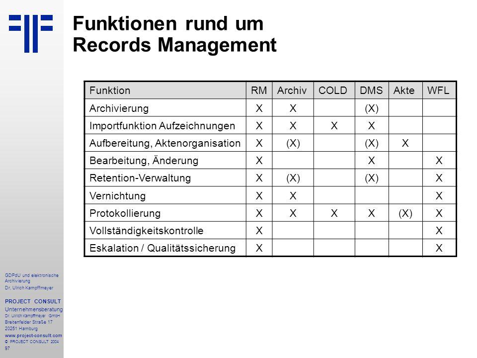 Funktionen rund um Records Management