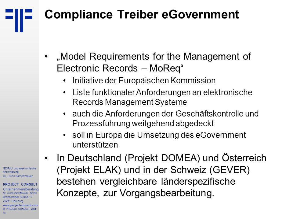 Compliance Treiber eGovernment