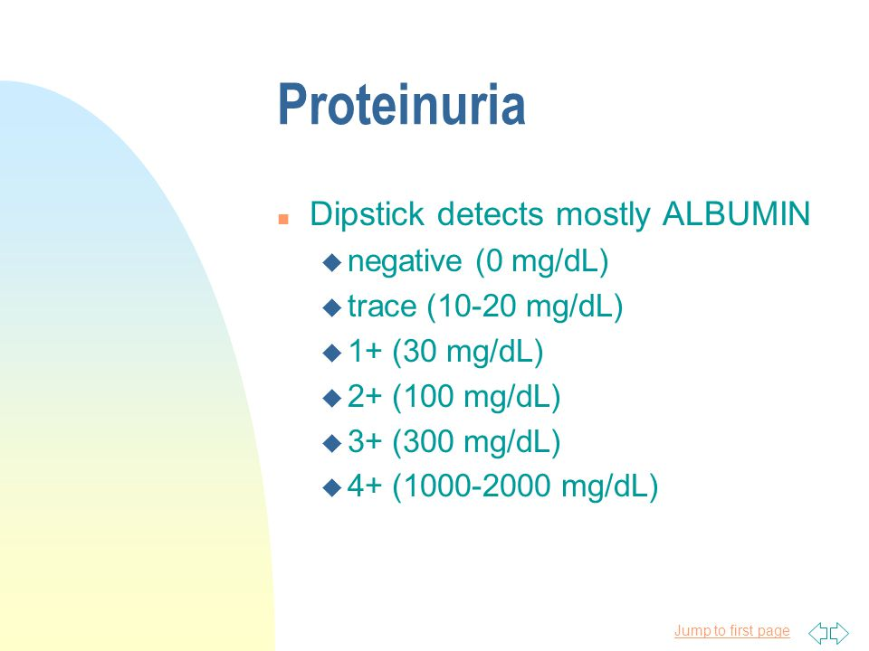 Proteinuria Dipstick detects mostly ALBUMIN negative (0 mg/dL)