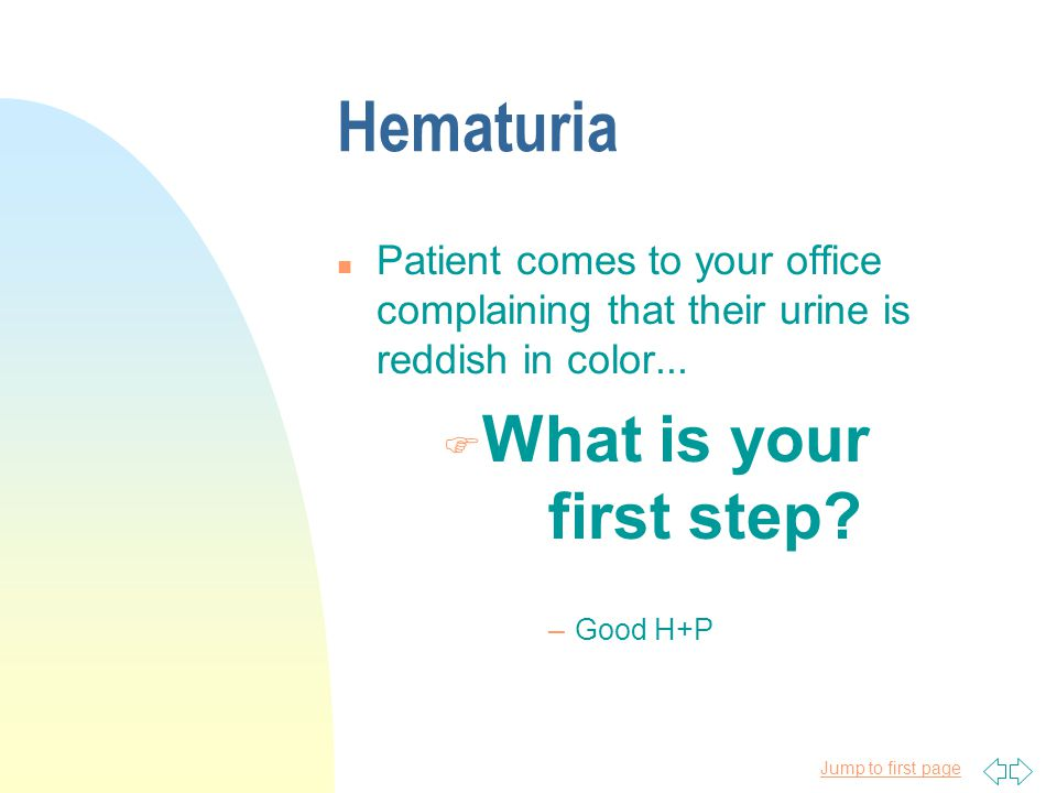 Hematuria What is your first step