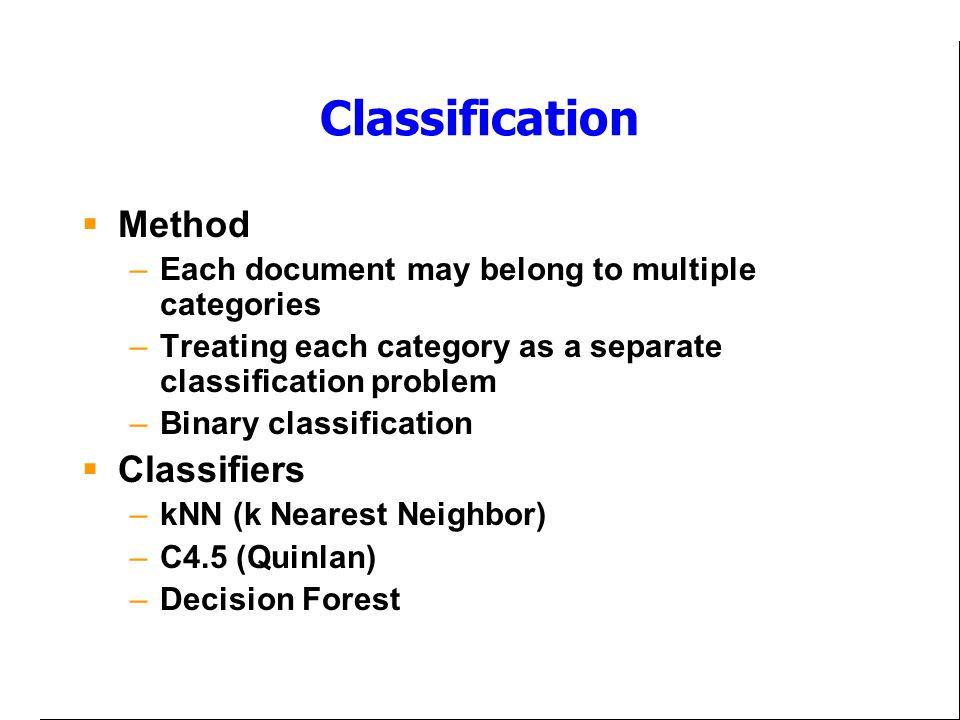 Classification Method Classifiers